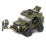 Jeep met boordkanon leger speelgoed Sluban