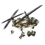 Chinook helikopter met jeep van het leger speelgoed Sluban