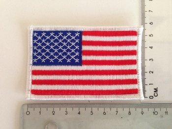 Embleem Patch Amerikaanse vlag USA stof witte rand art. nr. 1018