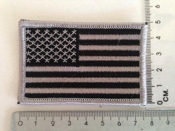 Embleem Patch Amerikaanse vlag USA stof in zwart grijs