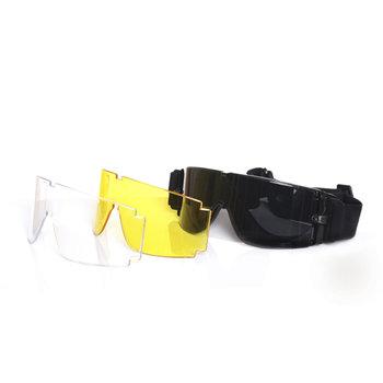 bril / goggles voor airsoft met 3 kleuren glas