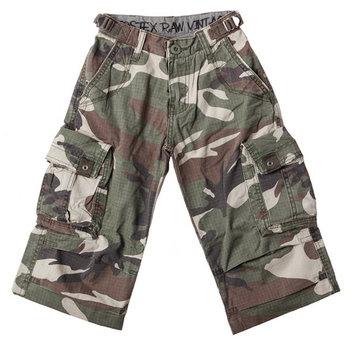 Kinder korte broek leger camouflage stonewashed