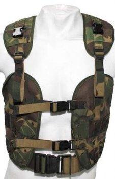 Tactical vest woodland camouflage uit het leger, bokkentuigje