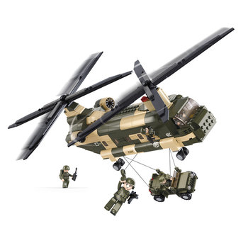 Chinook helikopter met jeep van het leger speelgoed Sluban B0508