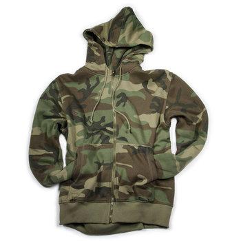 Fleece vest hoodie met rits camouflage