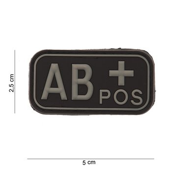 Patch Bloedgroep AB positief PVC met klittenband