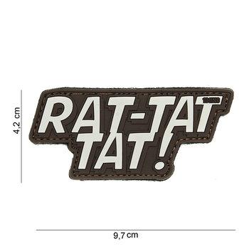 Patch Rat-Tat-Tat bruin, pvc met klittenband art no 14049