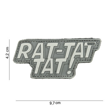 Patch Rat-Tat-Tat grijs, pvc met klittenband art no 14050