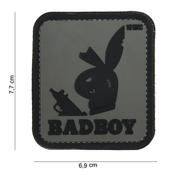Patch bad boy grijs zwart, pvc met klittenband art no 14045