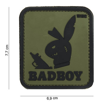 Patch bad boy groen zwart, pvc met klittenband art no 14046
