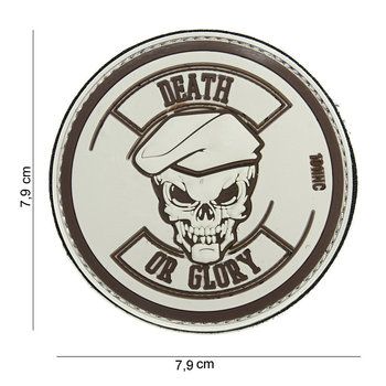 Patch Death or glory bruin, pvc met klittenband art no 14040