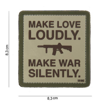 Patch Make love loudly make war silently pvc met klittenband art no 10103
