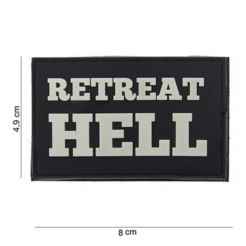 Patch Retreat hell zwart wit pvc met klittenband art no 10070