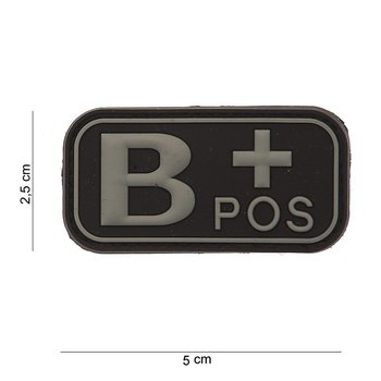 Patch Bloedgroep B positief, PVC met klittenband