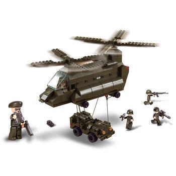 Transport helicopter met jeep Sluban leger speelgoed B6600