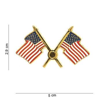 Embleem Amerikaanse gekruiste vlag USA met pin 7078