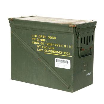 Munitiekist ORIGINEEL 30 MM 110 cartridge Afmetingen: 45 x 23 x 37 CM.
