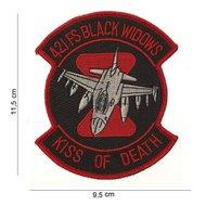 421 FS Kiss of death black widows patch embleem van stof art. nr. 4028