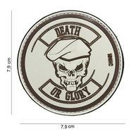 Patch Death or glory bruin, pvc met klittenband